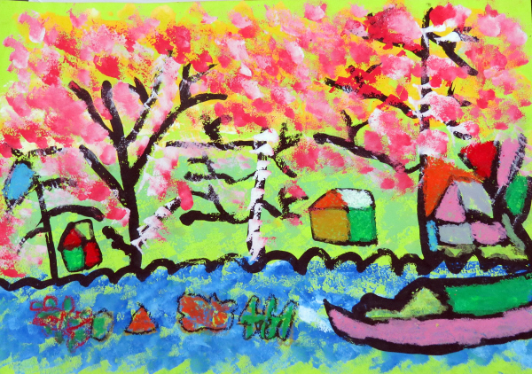 春天盛開的櫻花