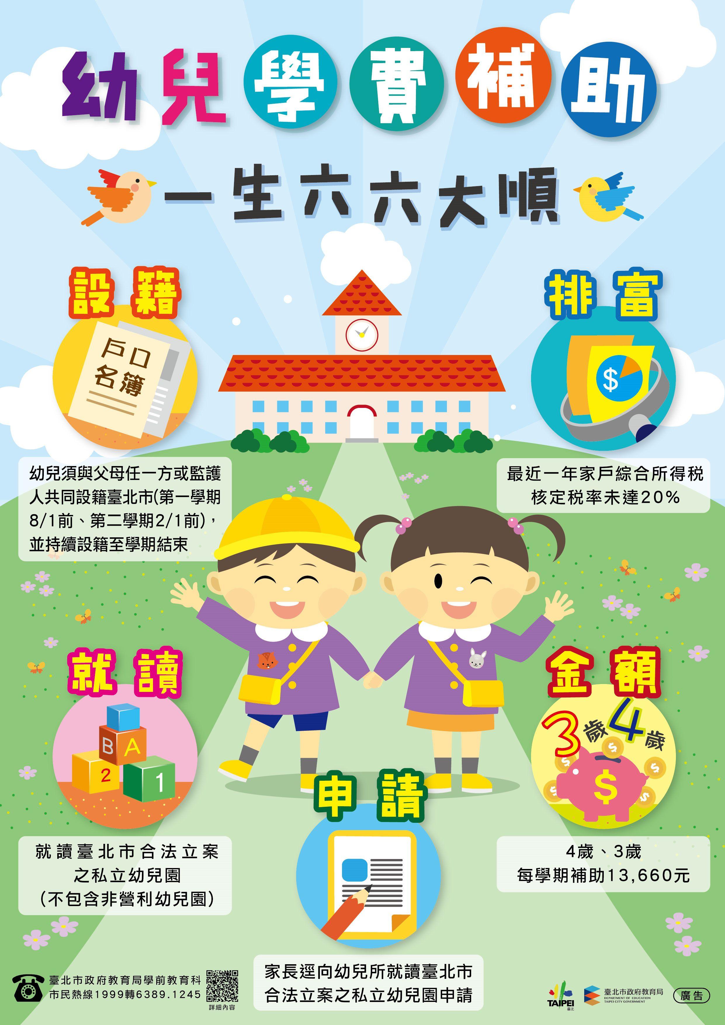臺北市幼兒學費補助 一生六六大順方案 您申請了沒? 代表圖